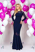 Роскошное вечернее платье в пол рыбка  с длинным рукавом декорирован гипюром