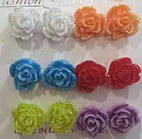 Подарок для девочки - Серьги гвоздики Розы