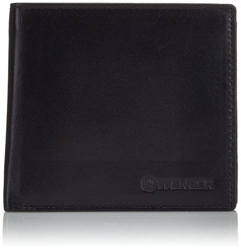 Актуальное мужское портмоне  из натуральной кожи Wenger W2-12BK-black (черный)