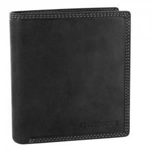 Удобное мужское портмоне  из натуральной кожи Wenger W5-04BK (черный)