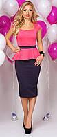 Женское нарядное платье миди с баской.