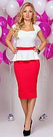 Женское нарядное двухцветное платье миди с баской.