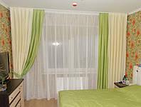 Комплект штор для спальни, гостинной, комбинированные (1,80 м каждое полотно)