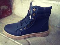 Женские ботинки на меху DUAL тёплые зимние чёрные высокие