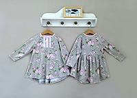 Детское платье хлопок 100% в цветочек с длинным рукавом для девочки