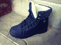 Женские ботинки с мехом CITY стёганые тёплые зимние чёрные высокие