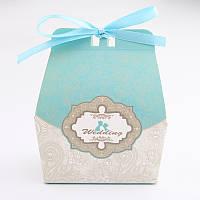 Бонбоньерки бирюзовые, красивые и оригинальные коробочки для конфет на свадьбу