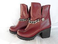Женские кожаные модные бордовые ботинки из натуральной кожи на невысоком удобном каблуке, а.740бордо