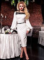 Романтичное Вечернее Платье Миди с Открытыми Плечами Молочное S-XL