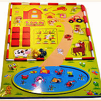 Деревянная рамка с вкладышами, с пазлами, логика, деревянная игрушка логика - Ферма большая - 45*30см