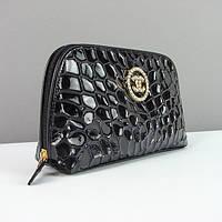 Женская черная косметичка Chanel натуральная кожа