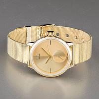 Часы наручные женские золотые Calvin Klein металлические копия