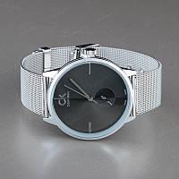 Часы наручные женские серебряные с черным Calvin Klein металлические копия