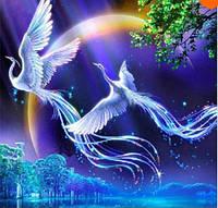 Картина для рисования камнями стразами Diamond painting Алмазная вышивка алмазами мозаика 2 птицы феникс