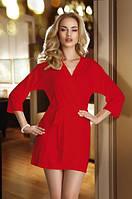 Женский короткий халатик красного цвета с поясом Lucy Eldar.