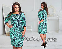 Красивое темно-синее платье батал с бирюзовым узором. Арт-3520/7. Платье больших размеров