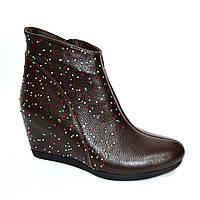 Коричневые кожаные женские ботинки (ботильоны)