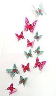 Бабочки 3D фиолетовые с узором 3Д декор наклейки