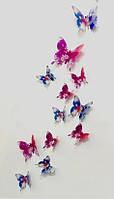 Бабочки 3D бирюзовые в цветочек 3Д декор наклейки