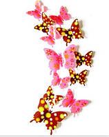 Бабочки 3D лилово-коричневые в цветочек 3Д декор наклейки