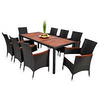 8 крісел + стіл. Садові меблі, штучний ротанг/дерево