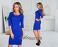 Красивое вечернее синее платье жакард . Арт-3535/7