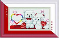 Набор для вышивания крестиком с печатью на ткани Мишки с сердцами  канва 11СТ