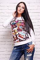 Свитшот женский белый с фото-принт  KF-1283d