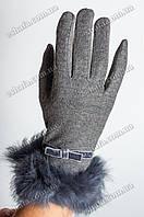 Кашемировые перчатки - графит, меховая опушка