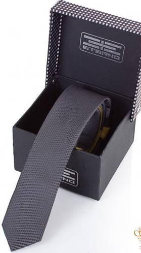 Отличный мужской узкий галстук из шелка ETERNO (ЭТЕРНО) EG605 серый