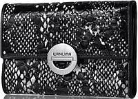 Кошелек из натуральной кожи с фактурой под змею WANLIMA (ВАНЛИМА) W11045340662-black-white черный