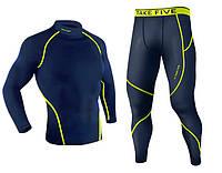 Комплект Take Five рашгард warming + компрессионные штаны синий