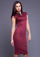 Миди - платье цвета вишни с воротничком и брошью - застежкой из страз MM30031
