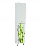 Пенал высокий для ванной с рисунком Бамбук-40К с корзиной для белья