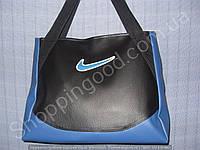 Женская сумка Nike 013623 черная с синим дном спортивная городская гладкий кожзам
