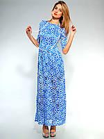 Красивое женское длинное платье с резинкой на поясе.