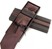 Стильный подарочный шелковый набор для мужчин ETERNO (ЭТЕРНО) EG632 коричневый