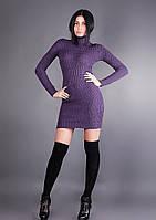 Женское зимнее короткое платье с высоким горлом
