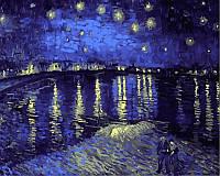 """Картины по номерам 40 × 50 см. """"Звездная ночь над Роной"""" Художник - Ван Гог."""