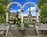 """Картины по номерам 40 × 50 см. """"Париж. Арка и вид на Эйфелеву башню"""""""