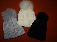 Женские/детские шапки с песцовым бубоном