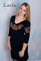 Плаття з вишивкою Троянди коричневі