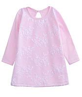 Детское нарядное розовое платье для девочки интерлок, гипюр