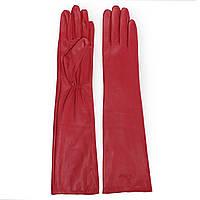 Модные женские перчатки Dior (кожаные, зимние, красные, длинные, на флисе)