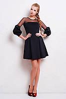 Женское вечернее черное платье с сеткой