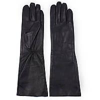 Женские перчатки Сhanel  (черные, кожаные, зимние, на флисе, длинные)