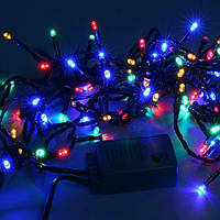 Гирлянда светодиодная 100 LED светодиодов новогодняя на черном проводе разноцветная