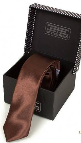 Спокойный шелковый узкий галстук  ETERNO (ЭТЕРНО) EG621 коричневый