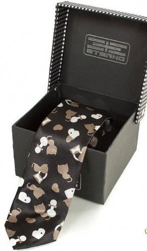 Необычный шелковый узкий галстук  ETERNO (ЭТЕРНО) EG628 черный