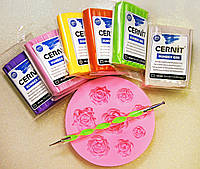 """Подарочный набор молд """"Цветы""""+глина Cernit 6шт.+ дотс для работы"""